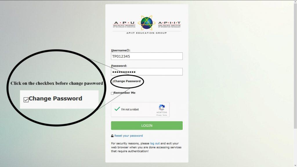 Change Password Option